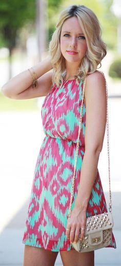 Windsor Mint And Red Geometric Print Sleeveless Summer Dress