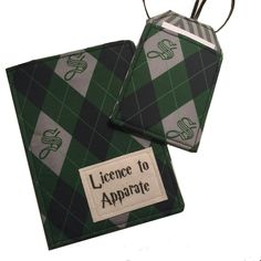 Passport Cover, luggage tag set Harry Potter inspired Licence to Apparate Slytherin passport case by destinationhandmade on Etsy