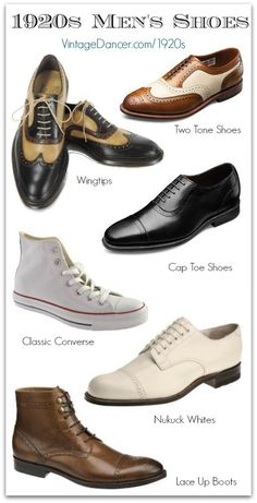 Men's 1920s shoe styles you can buy today. Wear them for a great Gatsby, Downton Abbey, or Boardwalk Empire style. Find these at VintageDancer.com/1920s