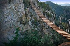 hanging bridge over a ravine at Solius in Catalonia Scary Bridges, Rickety Bridge, Water Under The Bridge, Rope Bridge, Dangerous Roads, Natural Bridge, Stairway To Heaven, Spain And Portugal, Covered Bridges