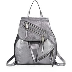 Marc Jacobs Metallic Lamb Leather Backpack ($495) ❤ liked on Polyvore featuring bags, backpacks, anthracite, apparel & accessories, draw string bag, metallic backpack, marc jacobs backpack, knapsack bag and rucksack bags