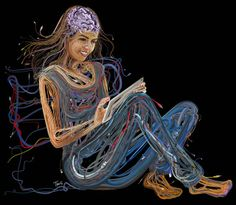 Intricate Illustration of People Made Up of Electronic Cords