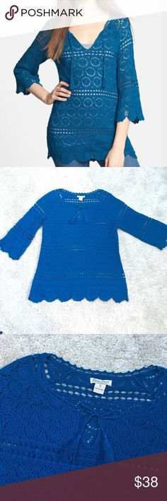 Lucky Brand Sapphire Crochet Tunic Like new condition, tassel tie neck, scalloped hem and sleeve hem. Perfect for the upcoming change of season! True color reflected in stock cover photo Lucky Brand Sweaters