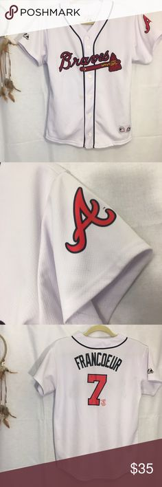 Atlanta Braves Baseball Women's Francoeur Jersey Atlanta Braves Baseball Women's Button Up Jeff Francoeur Jersey Top Shirt Size Small. Fits true to size. Great condition. 💐Bundle and get 20% off! Tops Button Down Shirts