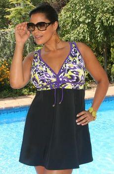 Women's Plus Size Swimwear - Always For Me In Control - Zuni Swimdress - NO RETURNS
