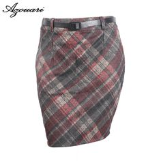 Cheap a skirt, Buy Quality fashion skirt directly from China fashion woman skirt Suppliers: azouari 2017 new autumn winter Red green fashion loose L XL XXL 3XL 4XL Plaid Wool Blended waist belt Plus size women's skirt