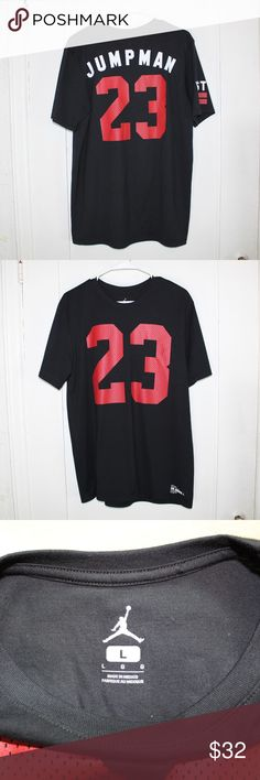 "NWOT JORDAN JUMPMAN T-SHIRT SIZE LARGE NEW WITHOUT TAGS AWESOME JORDAN T-SHIRT. FRONT READS ""23"" AND BACK READS ""JUMPMAN 23"". RIGHT SLEEVE READS ""WEST"" AND LEFT SLEEVE READS ""SIDE"". COLOR IS BLACK WITH RED AND WHITE FONTS. SIZE LARGE. SUPER COMFY COTTON. Jordan Shirts Tees - Short Sleeve"