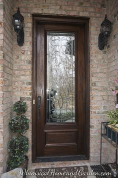 Leaded and Beveled Glass Front Entry Door ……. Entry Doors With Glass, Front Doors With Windows, Double Front Doors, Wood Front Doors, Glass Front Door, Sliding Glass Door, Wooden Doors, Front Door Entryway, Entrance Doors