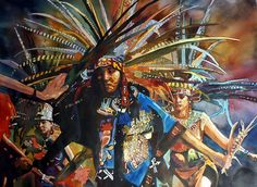 """Aztec Dancers"" by Laurie Warren. Watercolor"