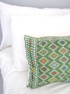 Larrainzar Mexican Pillow Cover   Embroidered   Green   Chiapas Bazaar   Handmade Mexican Blouses, Accessories & Home Decor from Rural Artisans