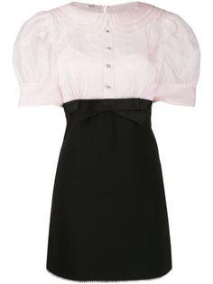 Miu Miu Faille Cady And Organza Dress - Farfetch Short Lace Dress, Silk Mini Dress, Short Dresses, Kpop Outfits, Fashion Outfits, Dress Fashion, Organza Dress, Pink Mini Dresses, Preppy Style