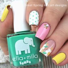 Best Spring Nail Art Designs to Copy in 2019 Colorful Spring Nail Art IdeaColorful Spring Nail Art Idea New Nail Colors, Spring Nail Colors, Spring Nail Art, Spring Nails, Summer Nails, Flower Nail Designs, Nail Designs Spring, Cool Nail Designs, Nail Stencils