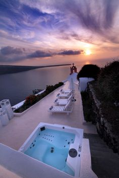 Purple sunset in Oia, Santorini