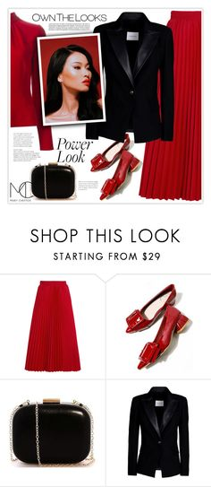"""Red and Black Power Look"" by mcheffer ❤ liked on Polyvore featuring Balenciaga, Pierre Balmain, blazer, redandblack and pleats"