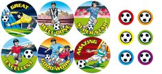 Mixed Football design Reward Stickers!      12 mixed designs     Size: 36mm - 240 stickers     Size: 15mm - 120 stickers     360 stickers per pack     Ref: RA51  Price     £11.25 FREE UK DELIVERY     (£9.38 ex VAT)