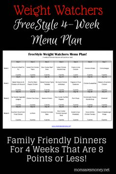 4 weeks of dinners that are 8 points or less on Weight Watchers FreeStyle Plan! Easy printable meal plan with healthy recipes. 4 weeks of dinners that are 8 points or less on Weight Watchers FreeStyle Plan! Easy printable meal plan with healthy recipes. Weight Watchers Tipps, Plan Weight Watchers, Weight Watchers Smart Points, Weight Watcher For Free, Weight Watchers Reviews, Planning Menu, Planning Budget, Weight Watcher Dinners, Weight Watchers Lunches