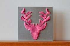 Christmas Card, Deer, Jul, Julkort, Hama, Pyssla, DIY, Pink, Silver, Christmas, Bead Hama Beads Design, Diy Perler Beads, Pearler Beads, Fuse Beads, Pearler Bead Patterns, Perler Patterns, Loom Beading, Beading Patterns, Modele Pixel Art