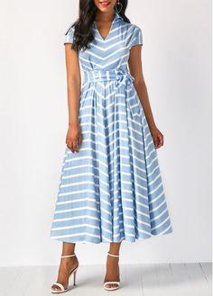 Cap Sleeve Striped V Neck Belted Dress on sale only US$34.88 now, buy cheap Cap Sleeve Striped V Neck Belted Dress at Rosewe.com