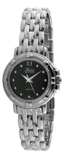 Swiss Edition Womens Round Luxury Silver Link Bracelet Black Dial Dress Watch SE3819L * Check out this great product.