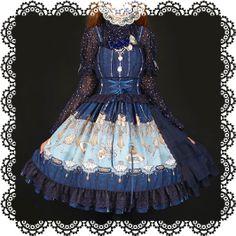LNSEARS Long Ears Sharp Ears Studios The Curtain is about to Open print lolita JSK blue with side bustle