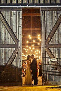 Bride and groom barn doors