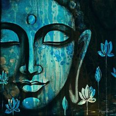 """'Buddha Peace by Preetkriti : """"The mind is the root from which all things grow if you can understand the mind, everything else is included."""" ~ Bodhidharma By Preetkriti Title: Buddha Peace 2 ♥, lis… Budha Painting, Painting Art, Buddha Drawing, Buddha Artwork, Buddha Peace, Buddha Buddha, Galaxy Painting, Indian Art Paintings, Buddhist Art"""