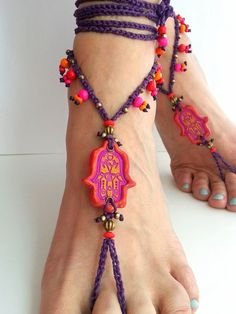 Boho barefoot sandals Purple Hippie sandals Red Hamsa by FiArt