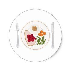 Thanksgiving Food Classic Round Sticker - thanksgiving stickers holiday family happy thanksgiving