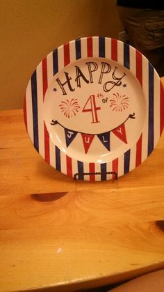 A cute, hand painted fourth of July plate!