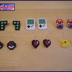 Boucles d'oreille rétro gaming unitaire en perle hama mini