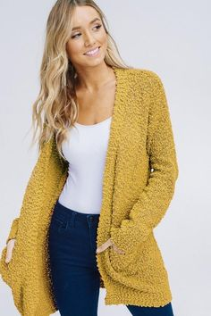975dae57e6 Mustard Yellow Plush Popcorn Cardigan Sweater from Divine Couture Boutique  Yellow Cardigan Sweater