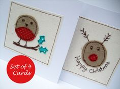Christmas Card Set of 4 Cards  2 Robin and 2 Rudolph by Nikelcards