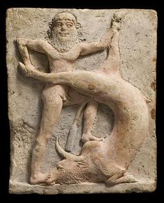 Gilgamesh Kills The Bull of Heaven  This is a Neo-Sumerian terracotta votive relief (c. 2250-1900 BC) showing Gilgamesh, the legendary King of the city of Uruk (map) fighting against Gugalanna, the Bull of Heaven.
