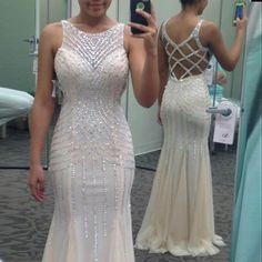 Long Prom Dresses , Youthful Ivory Prom Dress - Jewel Sleeveless Mermaid Floor Length with Beading