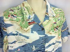 Go Barefoot Womens Hawaiian Shirt L Catalina Island Avalon Casino Flying Fish #GoBarefoot #ButtonDownShirt