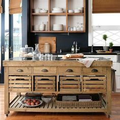 Stone Top Kitchen Island...Williams-Sonoma.  DREAMY.  But…I don't think I have the space :-(