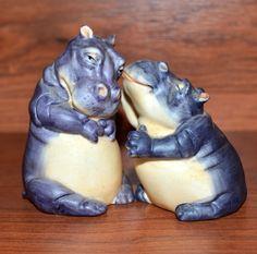 Vintage Noah's Ark Franklin Mint Two by Two 87 Hippopotamus Salt Pepper Shakers