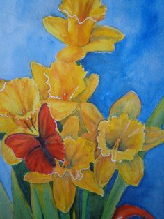 Daffodils original watercolor painting of yellow by BlindEyeArtist, $50.00