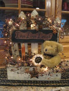 Really cute but I would replace the bear with a barn star or lantern. ..