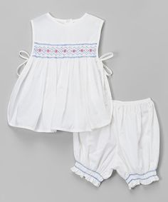Look what I found on #zulily! White & Blue Pinafore Top & Bloomers - Infant & Toddler by Fantaisie Kids #zulilyfinds