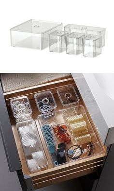 Bathroom organization: Ikea GODMORGON box with lid (set of Makeup Storage Containers, Makeup Storage Organization, Bathroom Organization, Bathroom Storage, Storage Organizers, Storage Ideas, Bathroom Drawers, Ikea Bathroom, Bathroom Ideas