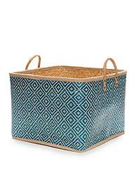 Elements Blue Palm Leaf Basket