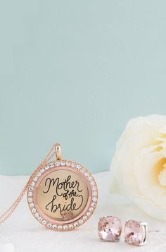 #MotherOfTheBride #locket from #OrigamiOwl in Rose Gold with vintage rose #Swarovski earrings. Great for the #MOB on the #Wedding day.