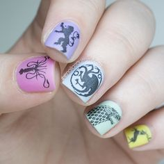 Game of Girly Thrones - Game of Thrones nail art by The Nailasaurus created using water decals from Tentacle Studios on Etsy.