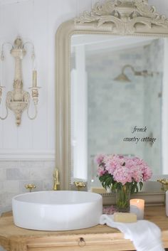French Country Cottage Bathroom Renovation reveal custom vanity reclaimed wood and marble - April 13 2019 at French Cottage Style, French Country Bedrooms, French Country Style, French Country Decorating, Modern Country, French Decor, Baños Shabby Chic, Shabby Chic Interiors, Shabby Chic Homes