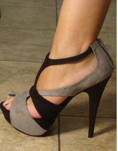 grey and black shoes