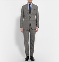 Kingsman - Grey Slim-Fit Single-Breasted Prince of Wales Check Suit  | MR PORTER