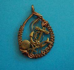 Handmade Copper Wire Jewelry, Woven Copper Wire Anchor Pendant Style Necklace
