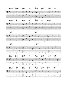 """The Chromatic approach notes are used in the jazz walking bass line to create forward motion in the bass line and also to create  """" tension and release  """" , an important part of the jazz bassists vocabulary .  The chromatic approach note exercises below are applied to Rhythm changes walking bass lines and are excerpts from the Constructing Walking Jazz Bass Lines  Series Book II - Rhythm changes in 12 keys.   bass tab edition"""
