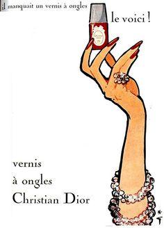 Christian Dior by rene grau Vintage Nails, Vintage Makeup, Vintage Beauty, Dior Nail Polish, Dior Nails, Vintage Prints, Vintage Posters, Christian Dior, Fashion Art